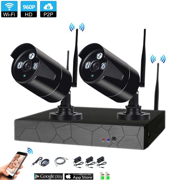 APlug와 놀이 2CH 960P HD 무선 NVR 장비 P2P 실내 옥외 IR 야간 시계 안전 1.3MP IP 사진기 WIFI CCTV 체계