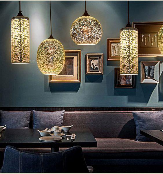 Großhandel 3D Glas Pendelleuchte Nordic Hängeleuchten Esszimmer /  Wohnzimmer Bar Restaurant Pub Decor Moderne Pendelleuchten Mit E27 Lampe  Von ...