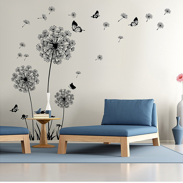 DIY Flying Dandelion Flower Butterfly Wall Stickers Living Room Bedroom  Wall Art Decor Decals Backdrop Mural Home Decoration P15 Wall Stickers ...
