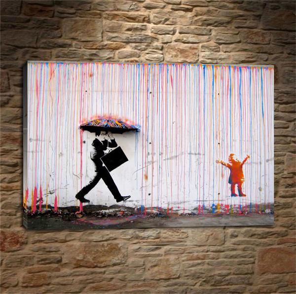 Banksy Art Colorful Rain BANKSY, Home Decor HD Stampato su tela moderna / Senza cornice / Incorniciato