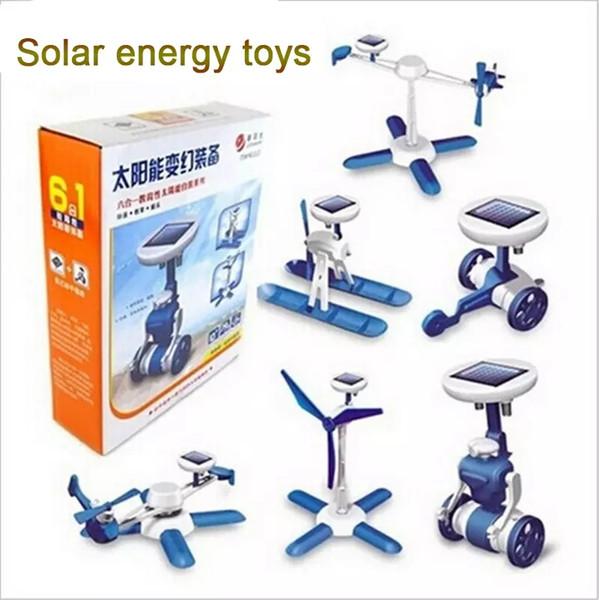 6 in1 Güneş Kiti Eğitim DIY Güç Güneş Arabası Robot 6 adet / takım Oyuncaklar Araba Düzlem Tekne Fırıldak Uçak Çocuklar Parti Favor AAA1276