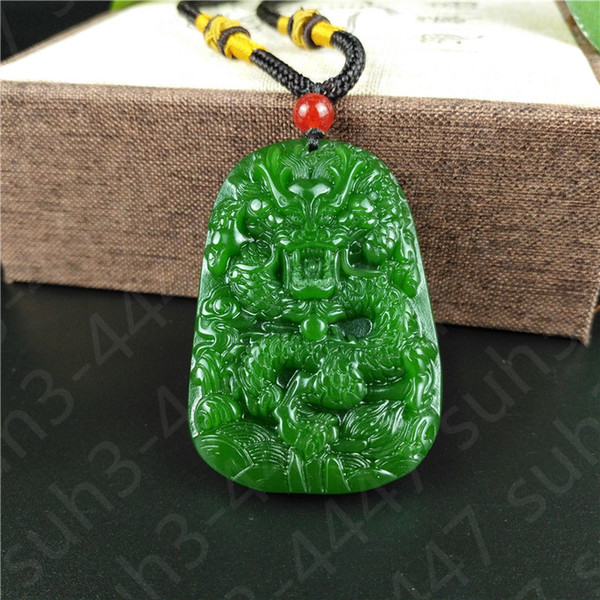 Chinese Green Jade Dragon Pendant Necklace Charm Jewellery Fashion Accessories