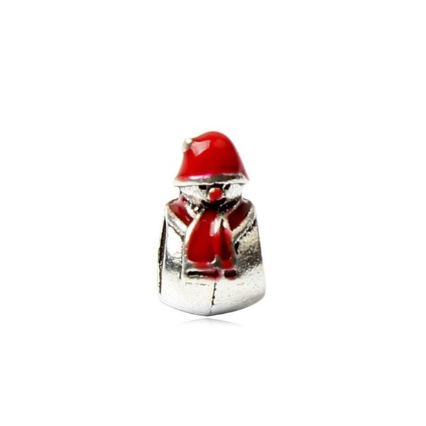 Cute Snowman Painted Red Unique Charm Bead Big Hole Fashion Women Jewelry European Style For DIY Bracelet Necklace