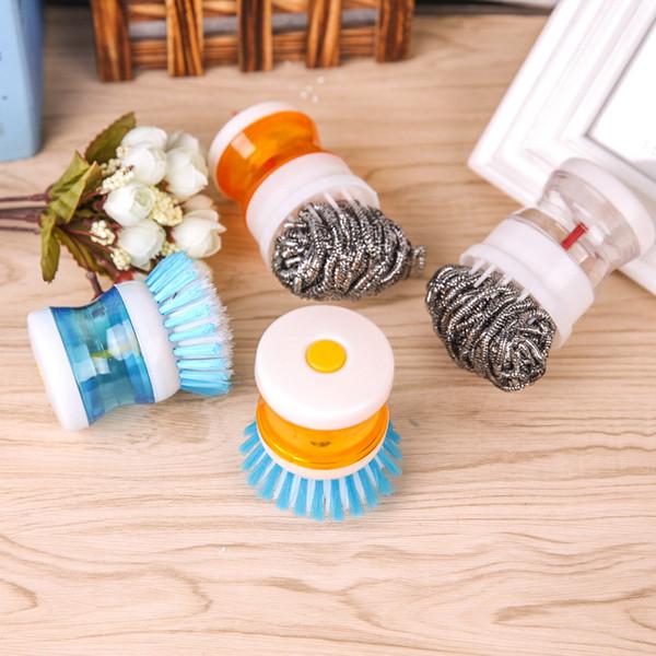 Convenient wash pan pressure liquid wash brush dishwashing cleaning hydraulic ball wire brush
