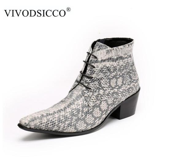 Großhandel VIVODSICCO Luxus Britischen Stil Lace Up Männer Stiefeletten Aus Echtem Leder Motorrad Cowboy Stiefel Männer Schlangenhaut Stiefel Kleid