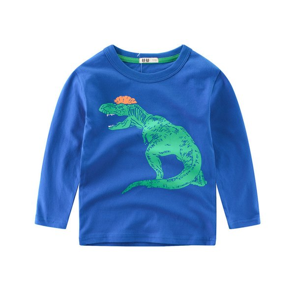 Fashion Toddler Boys Patchwork T-Shirt Children Cartoon Dinosaur Long Sleeve Pullover Shirts Tops for Boy Kid Outfits Clothes