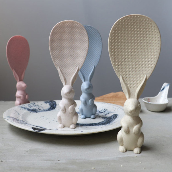 Lovely Rice Ladle Cartoon Rabbit Shaped Non Stick Rice Paddle Meal Spoon Kitchen Tool 0C