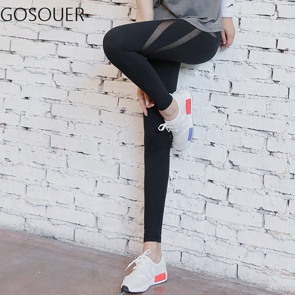 High Waist Net Yarn Yoga Pant Black Elastic Running Fitness Slim Sport Pants Quick-drying Gym Leggings For Women Capris Pants