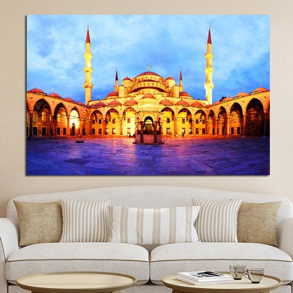 Großhandel 1 Stück Islamische Blaue Türkei Istanbul Sultan Ahmed Moschee Religiöse Druck Und Poster Auf Leinwand Wandbild Für Wohnzimmer Kein