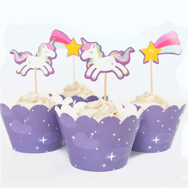 Creative Unicorn Theme Decorate Baby Shower Party Kids Favors Beautiful Cake Toppers Cupcake Wrappers Birthday Supplies 24pcs