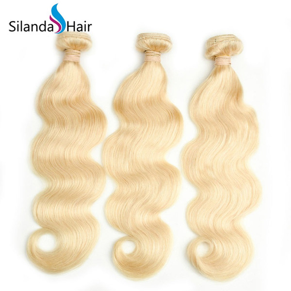 Silanda Hair Excellent Quality Blonde #613 Real Brazilian Remy Human Hair Weaving Body Wave Hair Weft 3pcs per pack Free Shipping