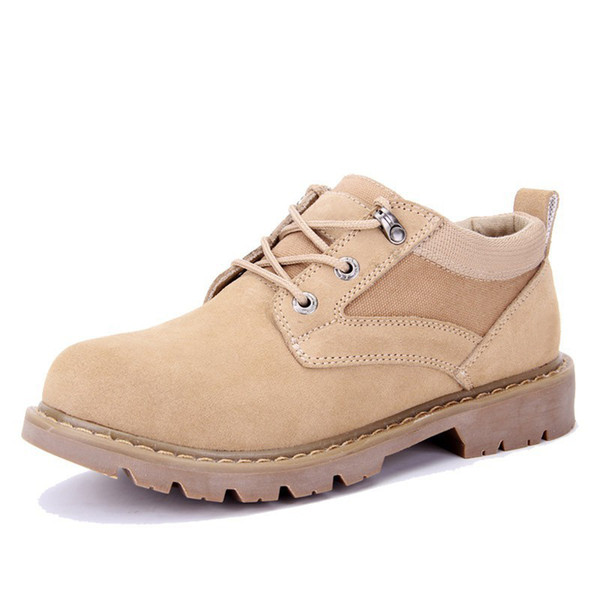 Brand british men's genuine leather outdoor workwear shoes trend sanded cowhide low upper casual shoes Short Ankle Flats boots big yards 44
