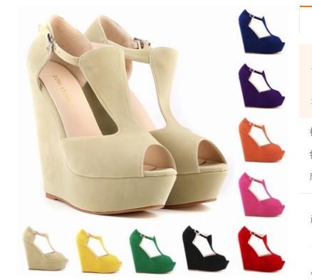 wedge heel platform roman peep toe large size 35-42 blue beige orange purple rose white yellow green black color 14cm heel women shoes 474