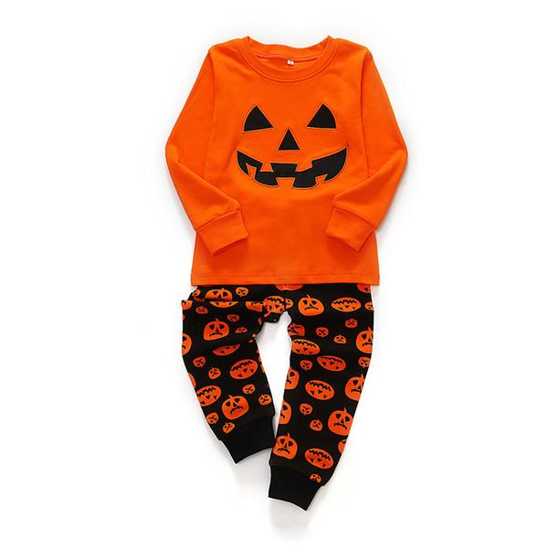 Halloween jeux de rôles vêtements garçons de dessins animés de citrouille et les filles en coton deux pièces costume vêtements de fête pantalon à manches longues pour les enfants des enfants