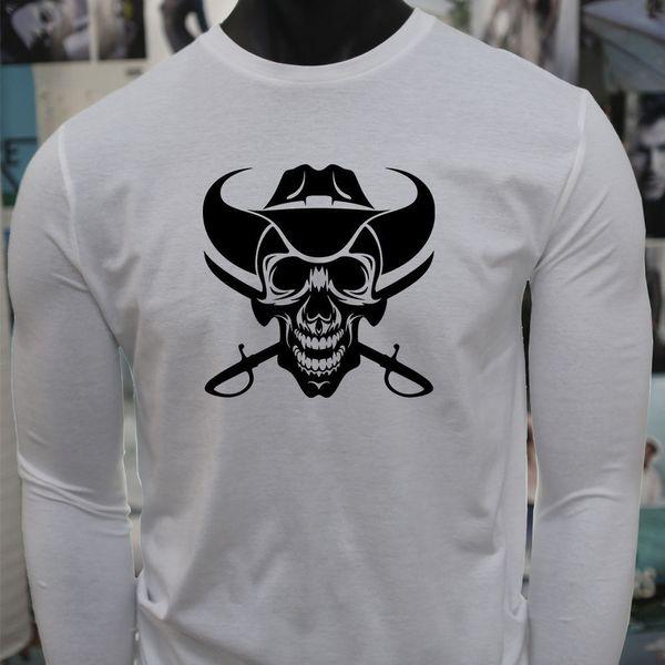 COWBOY SKULL WESTERN COUNTRY EVIL DEAD SWORDS T-shirt Léger Homme Blanc