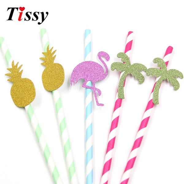 15PCS Creative Paper Straws Flamingo&Pineapple&Tree Straws Christmas/Kids Birthday Wedding Decoration DIY Drinking