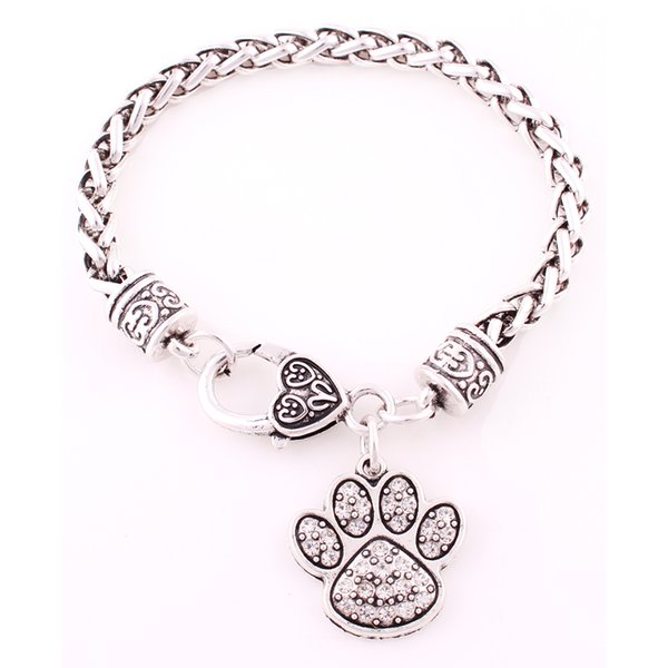 Multi-Color Rhodium Plated Zinc Studded With Sparkling Crystal Dog Or Bear Paw Charm Wheat Chain Bracelet