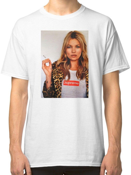 Новые 2018 Мужская мода печати шею человек Кейт Мосс мужская Белый тис рубашка одежда печати футболка мода с коротким рукавом
