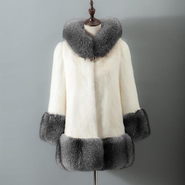 Kadın coat kış kürk Kış Kadın Faux Kürk Ceket Rahat Artı Boyutu Faux Fox Ceket Kadın Giyim Kapşonlu Cep Mont