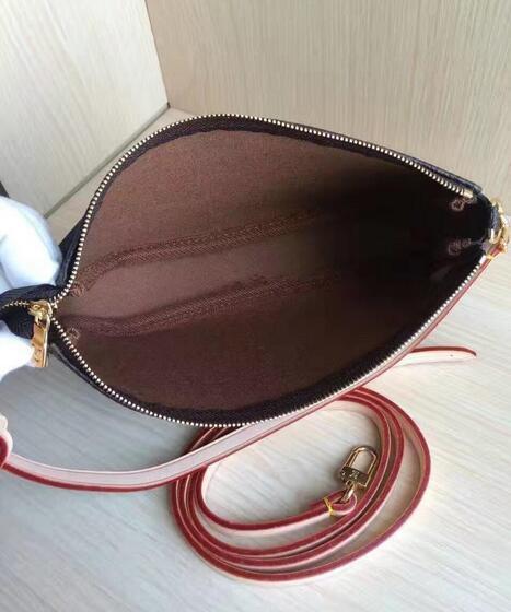 Fashion Canvas Coated Real Leather Lady Handbag POCHETTE ACCESSOIRES N41206 M40712 N41207 Women Shoulder Bag Cosmetic Bag