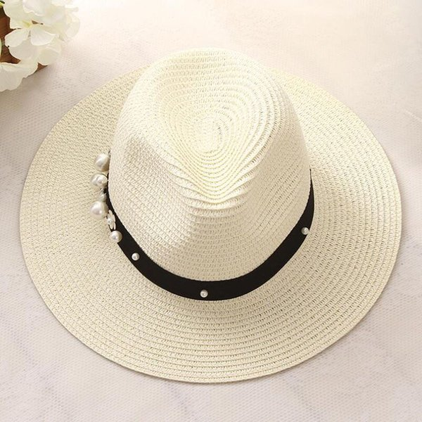 2017 New Spring Summer Hats For Women Flower Beads Wide Brimmed Jazz Panama Hat Chapeu Feminino Sun Visor Beach Hat Cappello