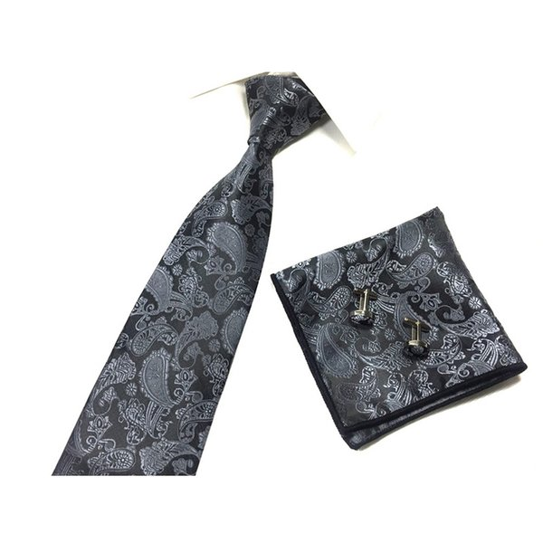 NEW Paisley Necktie Hanky Cufflinks Sets Pocket Fashion Groom Mens Cravat for Men Gravata Male Marriage Wedding Ties QLYD0387
