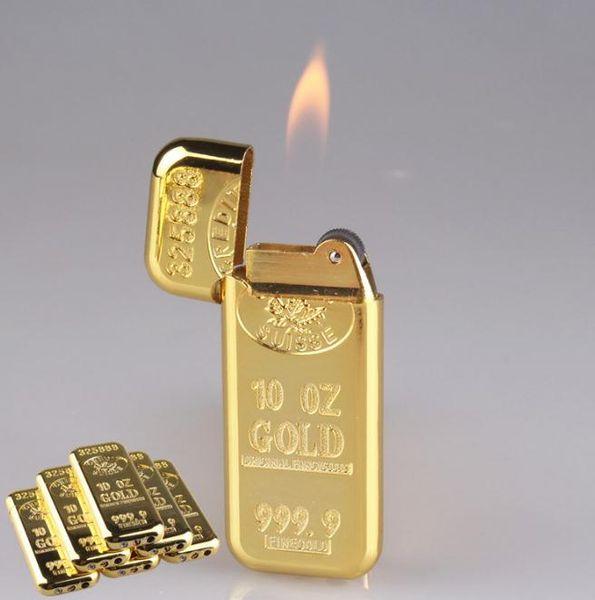 Personalidade criativa ultra-fino forma de ouro mais leve barra de ouro roda chama aberta isqueiro