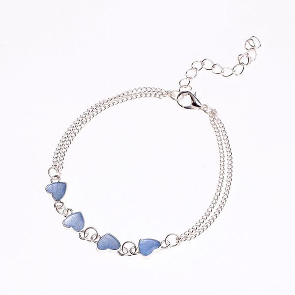 Bohême Lumineux Coeur Pendentif Bracelets Pour Femmes Joli Bracelet sur la Jambe Amant Anklet Mode Femelle Pied Bijoux Cadeau Fête Plage Anklet