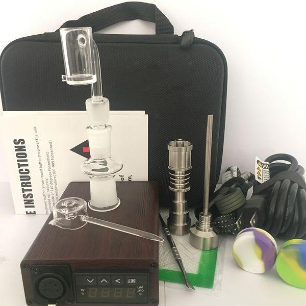 Pure quartz Titanium Enail E-nail dab bongs kit electric dab nail PID dabber box 10mm 14mm 18mm male & female joint for glass water vape