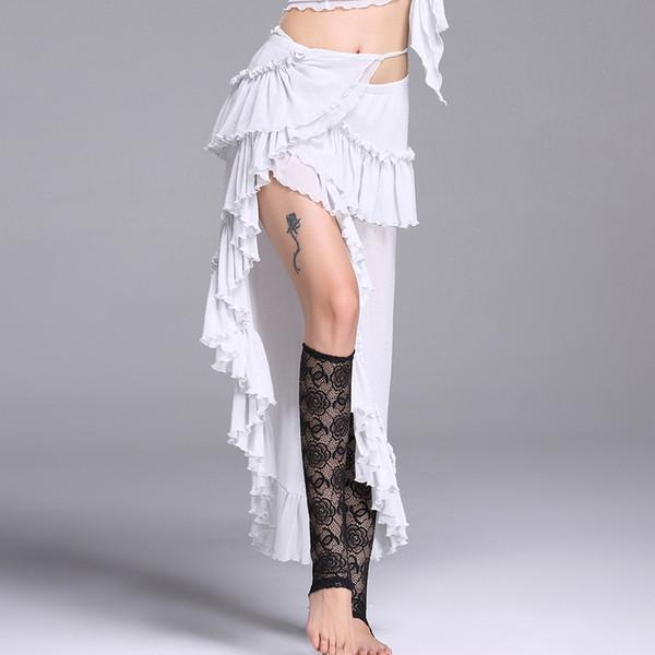 Trajes de Danza del Vientre Ropa Sexy Falda de Danza Gitana Faldones de Alambre de Plata Traje de Ejecución de la Danza del Vientre Ropa de Mujer DN1311