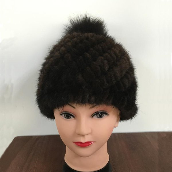 CHEWIES Winter Real Hat Caps Women Beanies Fashion Knitted Beanies With Fur PomPoms Factory Outlet 7.19