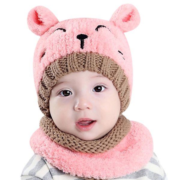 Bebé Invierno Cálido Sombrero Bufanda Conjunto Lana Sombrero de Punto Niños Lindo Oso Crochet Grueso Casquillo de cachemir Beanie Otoño Niñas Niños bufandas 2 unids