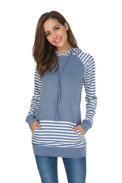 Fashion Hoodies Sweatshirt Women Striped Drawstring Hoodie Autumn Gray Dark Blue Long Sleeve Outerwear Plus Size S-XL