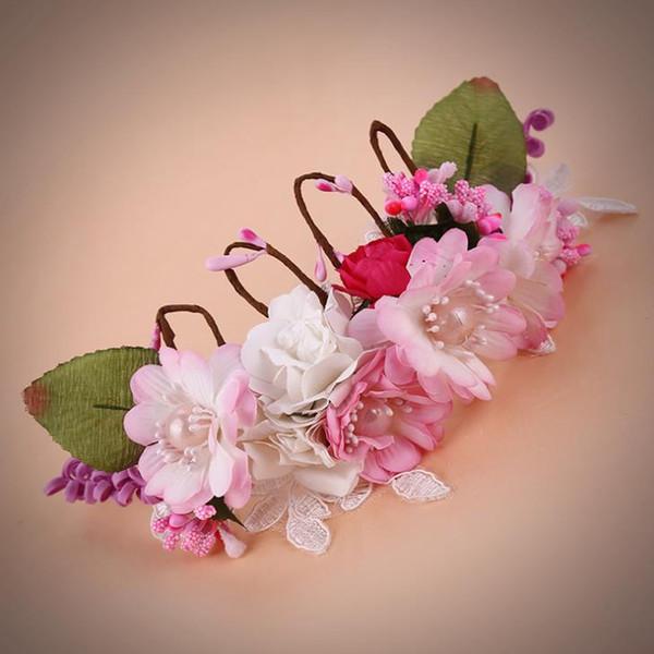 Korean pearls spring flower hand woven wedding crown photo studio photo hair accessories