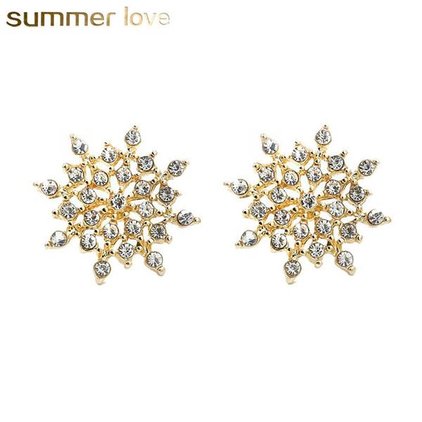 New Fashion Sliver oro colore cristallo fiocco di neve orecchini per le donne Girlfrend Lovey lega orecchino di Natale regalo gioielli accessori