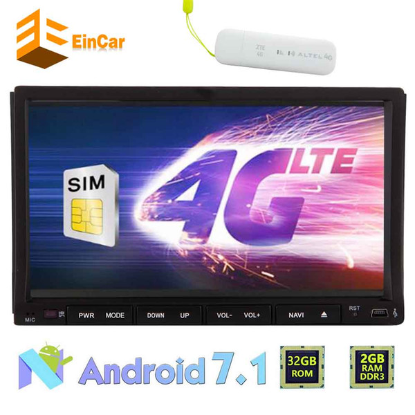 Android 7.1 Car DVD Player 4G Dongle 7'' Touch Screen Car Stereo GPS Double Din Navigation Vehicle Headunit Radio Receiver WiFi OBD2