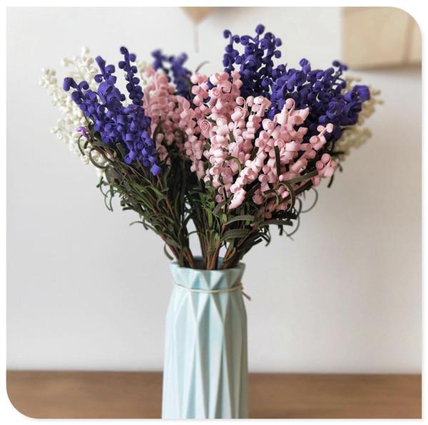 LIN MAN 7 Heads PE Artificial Lavender Flowers Bouquet for Home Wedding Garden Decoration Festival Decorative Flowers 43cm