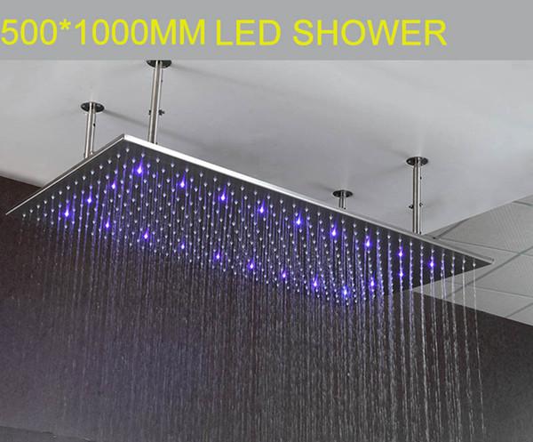 3 Renk Led Duş Başlığı 500 * 1000mm dikdörtgen hidro güç led işık yağmur duş başlığı sus Banyo yağış duş