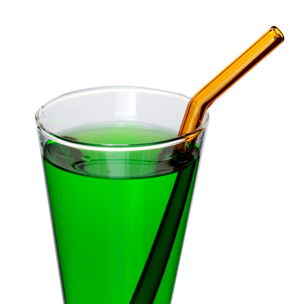 Reusable Eco Borosilicate Glass Drinking Straws Clear Colored Bent Straw 18cm*8mm Milk Cocktail Drinking Straws lin2593