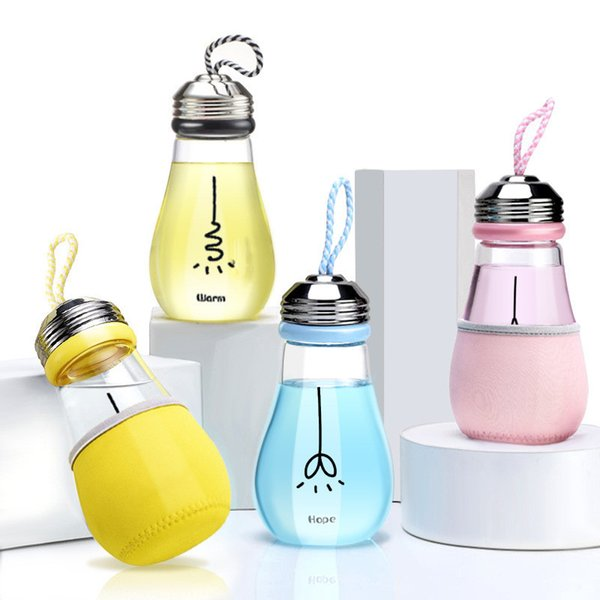 Bulb Shape Boron Water Bottle Fashion Glass Bottle Transparent Water Kettle with Rope Portable Outdoor Drinkware for Kids lb174