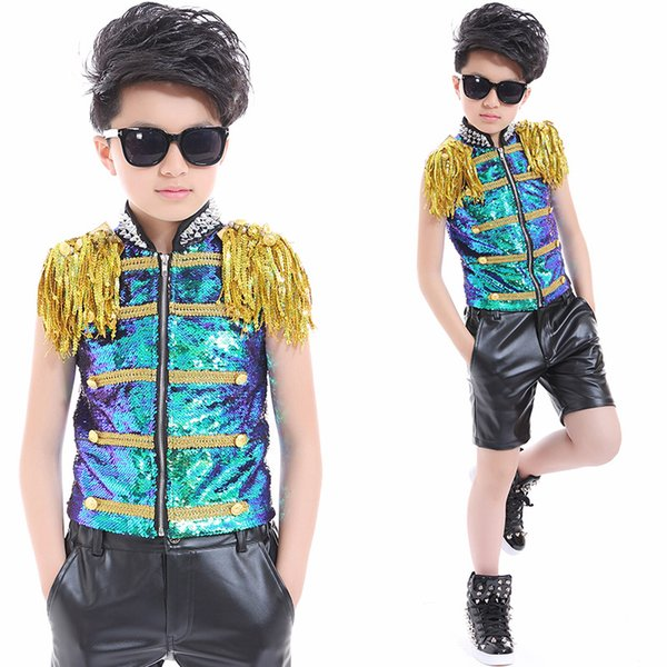 2018 new arrival dance wear kids boys suit stage costume for children Model show sequins dance performance sleeveless costume