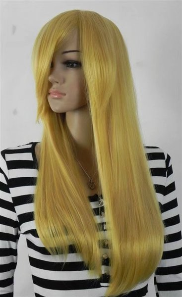 free shipping Womens Long Straight wine rose yellow color Wig Heat Resistan light yellow Color curls wavy hair Wig No bangs+Wig Cap