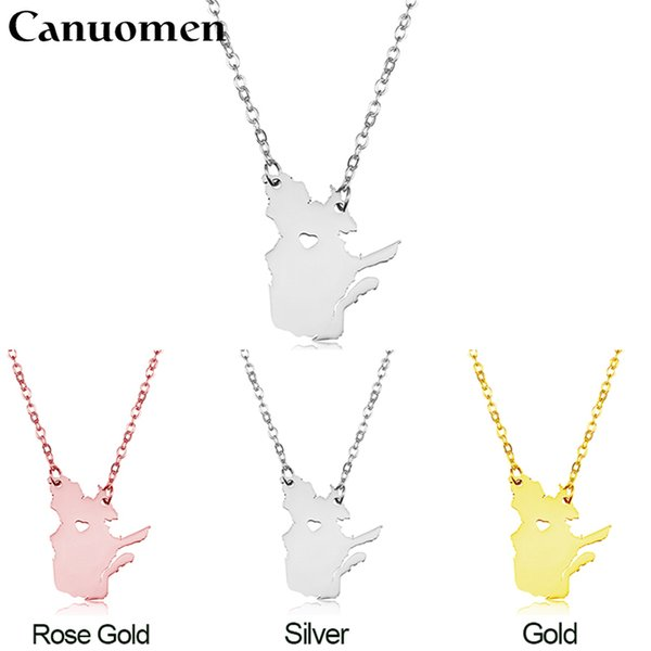 Canada Map Quebec Pendant Necklaces I Heart Quebec Charm Country Necklace Rose Gold Stainless Steel Love Hometown Gift Jewelry