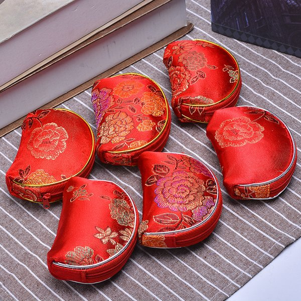 Latest Small Shell Zipper Bags Silk brocade Jewelry Pack Coin Purse Wallet Candy Favor Bag Craft Packaging Gift jc-067