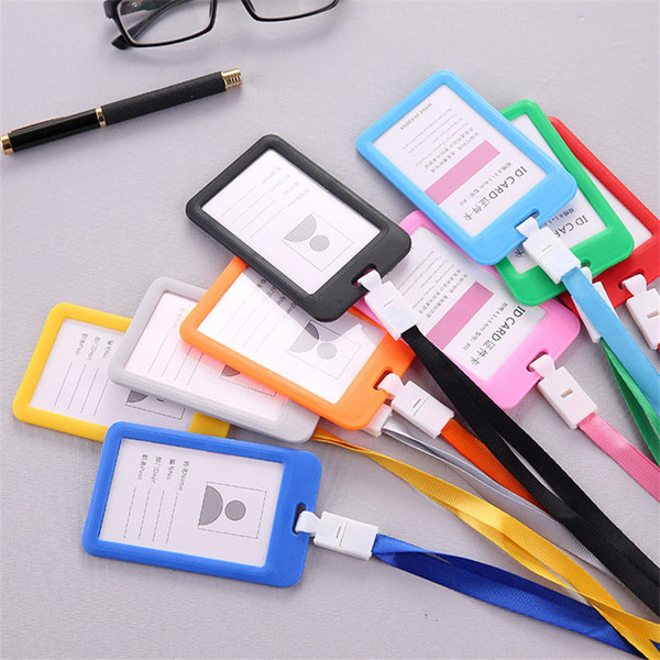 top popular Candy color Identity badge lanyard plastic work ID Neck Strap Card Bus holders work card bus access student card holder with lanyard 2020