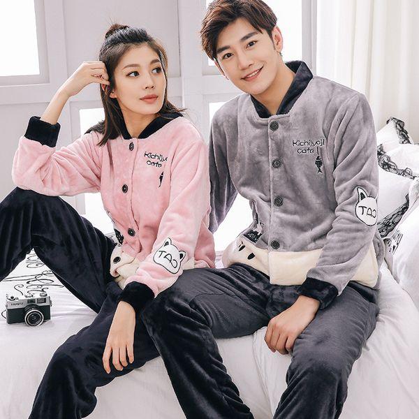 Autumn Winter Couple Warm Flannel Pajamas Set For Women Cartoon Sleepwear Pyjama Casual Men Long Sleeve Lounge Wear Home Clothes