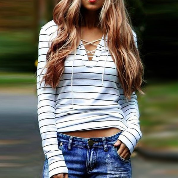 Autumn Women T-shirts 2016 Striped Long Sleeve V-Neck T-shirts Sexy Women Lace Up Tops Tees Spring T Shirt Free Shipping 41