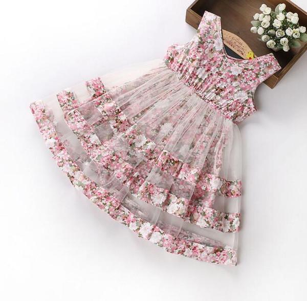 2018 Korean style new arrivals girls round neck sleeveless full flowers print mesh patchwork dress girl's summer Dresses free ship 3 color