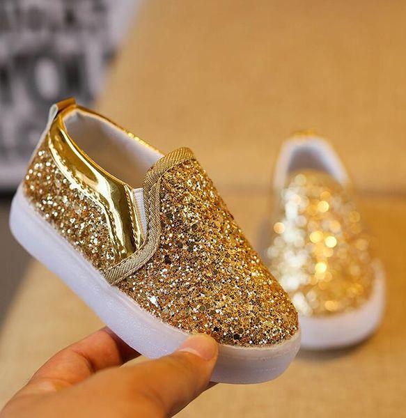 2019 Baby Girls boy LED Light Shoes Toddler Anti-Slip Sports Boots Kids Sneakers Children Cartoon Sequins PU Flats size 21-30
