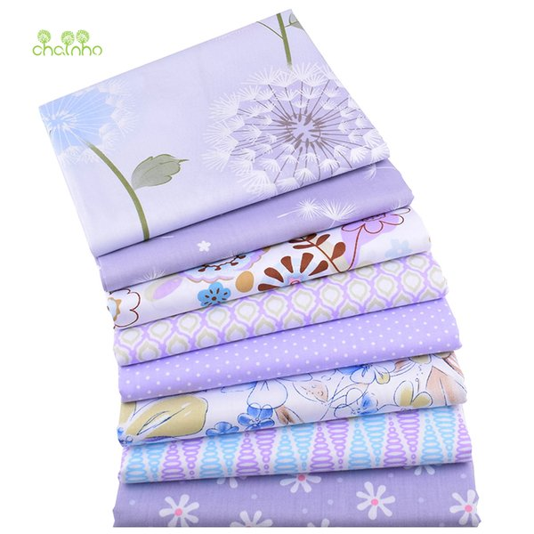 Chainho,Purple Floral Print Twill Cotton Fabric,For DIY Quilting Sewing/Tissue Of Baby&Child/Sheet,Pillow Material,Half Meter